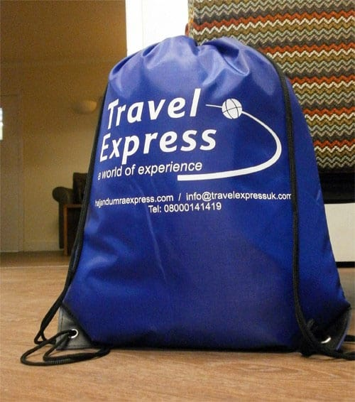 Travel Express Drawstring Bag