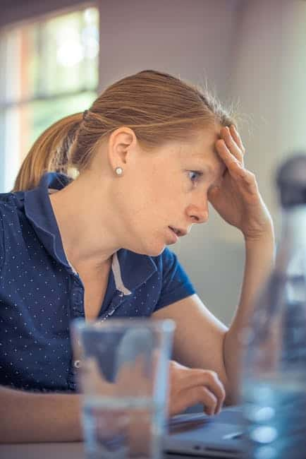 Lady stressed with work