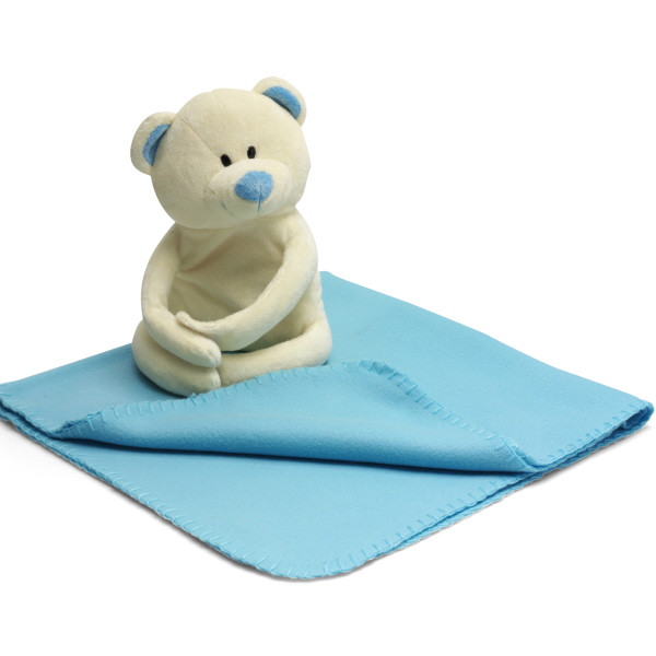 Soft Bear And Fleece Blanket - Pale Blue