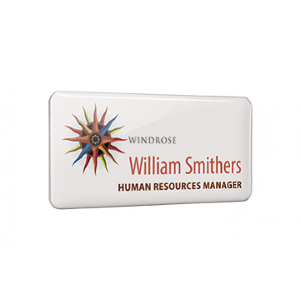 Metal Name Badge with Dome