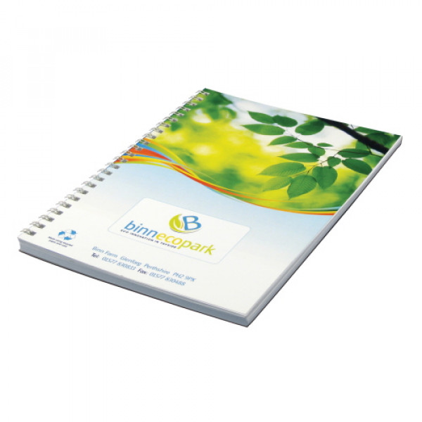 Wirebound Full Colour Notebook A5, Recycled Card & Paper