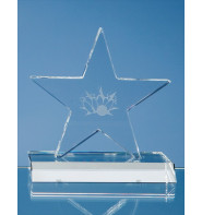 Optical Crystal 5 Pointed Star on Base Award